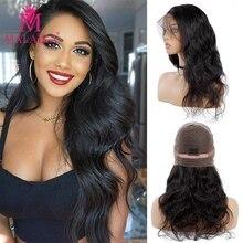 MALAIKA волосы парики объемная волна полный шнурок человеческие волосы парики с детскими волосами предварительно сорванные бразильские полные парики шнурка для черных женщин