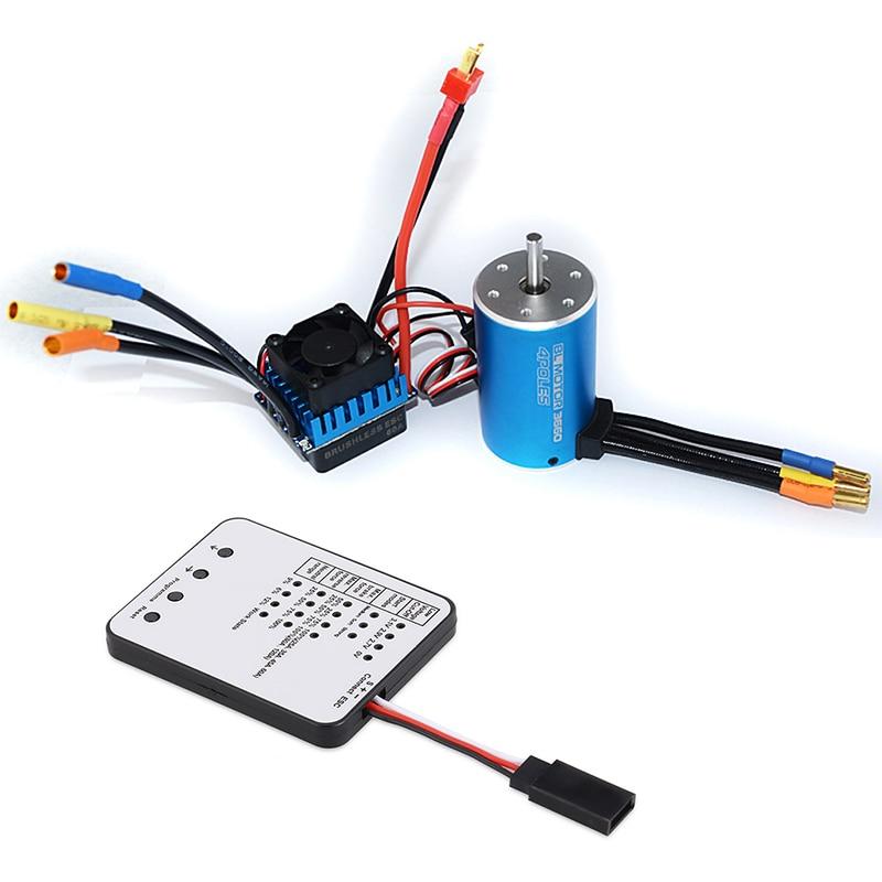 3660 3800Kv Sensorless Brushless Motor With 60A Esc & Led Programming Card For 1/10 Rc Rally Car Solar Generator    - title=