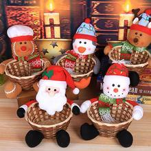 Рождественская корзина для конфет украшение Санта Клаус настольная корзина подарок Рождественское украшение детская Рождественская корзина для хранения конфет