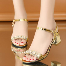 womens shoes Summer sandals thick heel flat belt buckle middle rhinestone fashion sexy