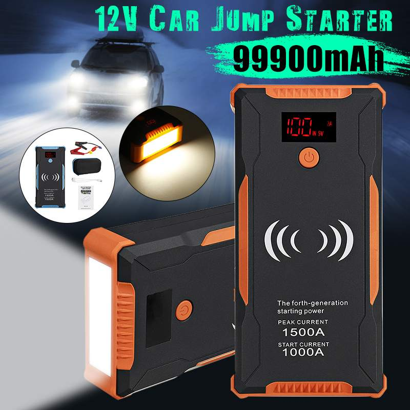 Phone Wireless Car Jump Starter Power Bank 1500A Car Battery Booster Charger 12V Starting Device Petrol Diesel Car Start Buster