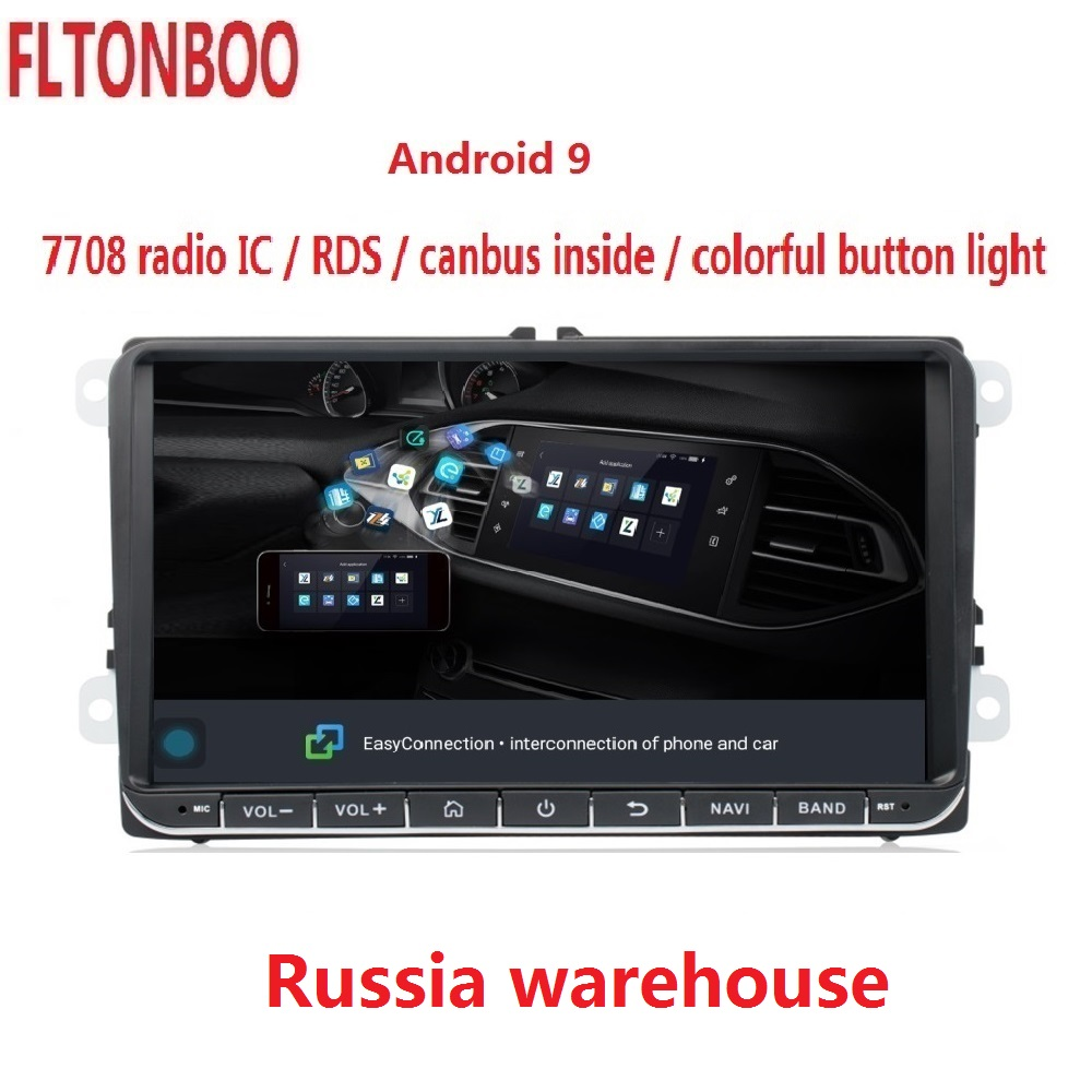 9 Navigation GPS de voiture Android 9.1 pour VW Volkswagen GOLF 5, Polo Passat b5, Jetta Tiguan Touran Skoda, 7708, canbus, volant