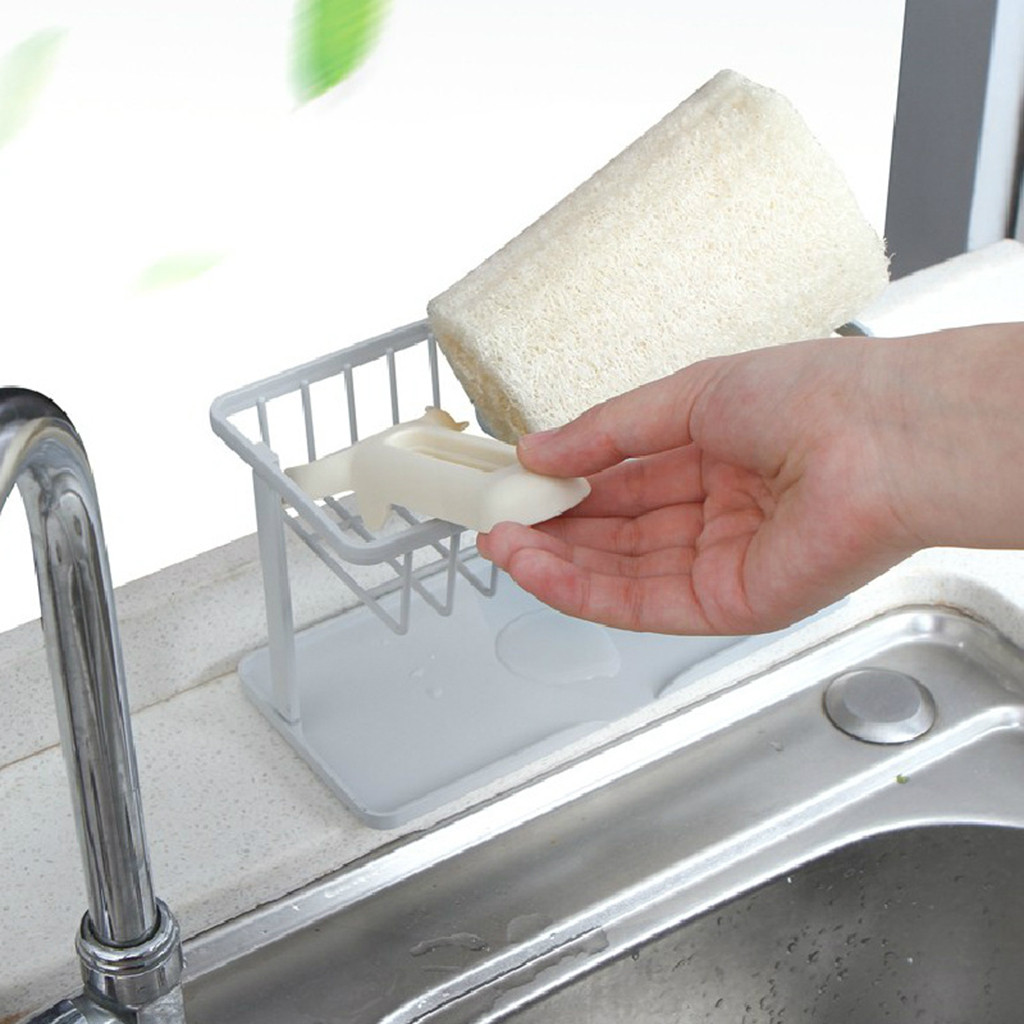 Kitchen Sink Brush Holder Sink Sponge Storage Basket Kitchen Organizer Holder Container Bathroom Storage Accessory #T5P