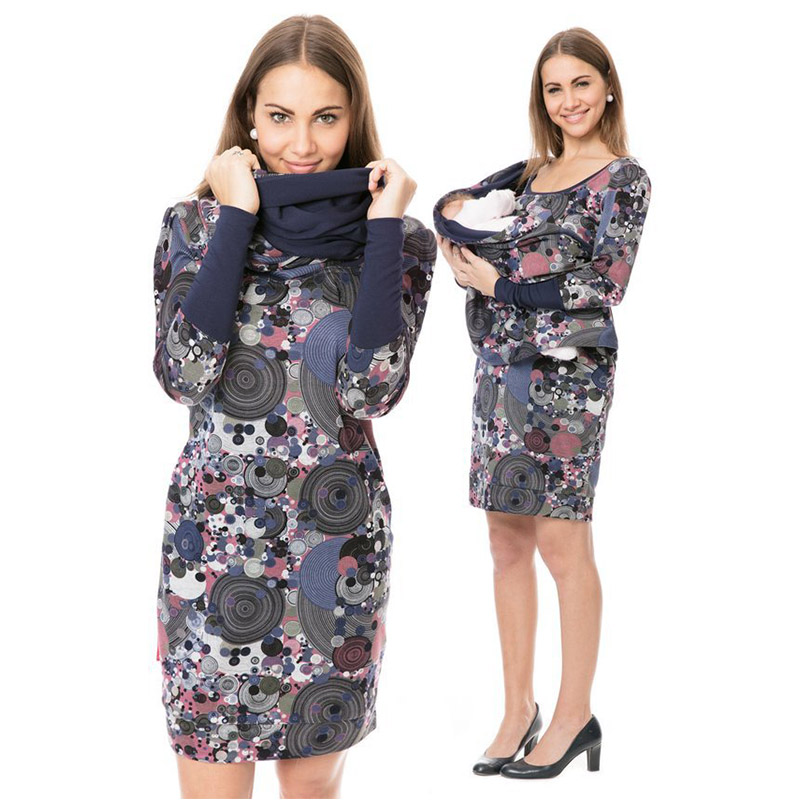 Vintage Print Maternity Breastfeeding Dresses Autumn Winter Pregnant Nursing Dress Long Sleeve Women Pregnancy Lactation Clothes
