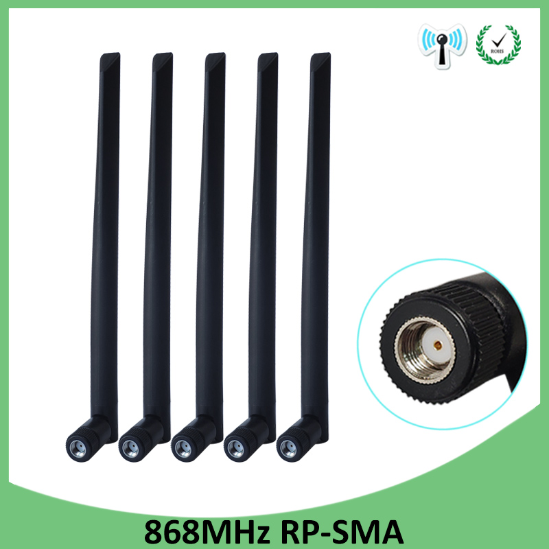 5PCS <font><b>868MHz</b></font> <font><b>915MHz</b></font> <font><b>Antenna</b></font> 5dbi RP-SMA Connector GSM 915 MHz 868 MHz antena outdoor signal repeater antenne waterproof Lorawan image