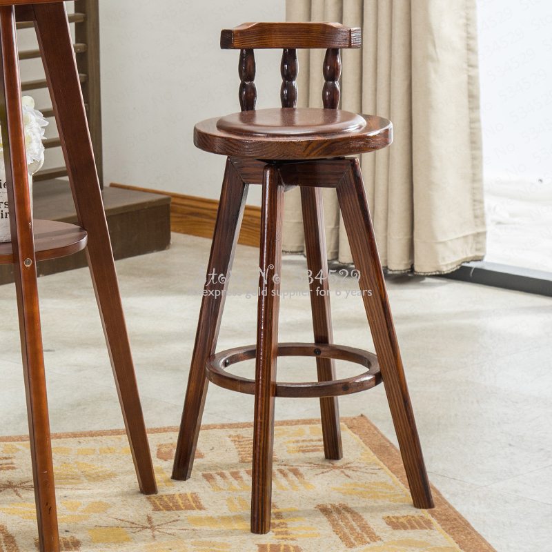 30%2B American Bar Table And Chair Combination Retro High Stool Table Combination Coffee Shop Solid Wood Table Leisure Bar Stool