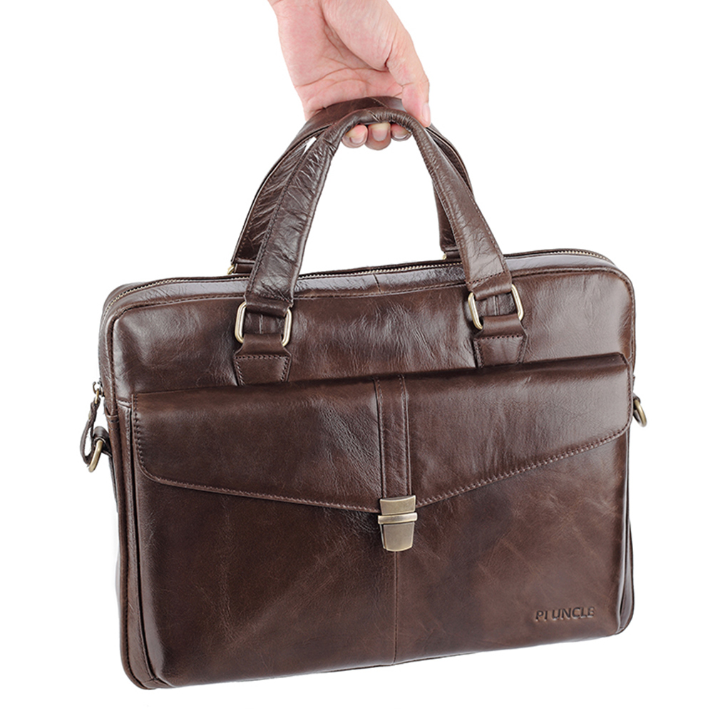 Men Leather Bags Business Briefcase Computer Handbags Large Capacity Crossbody Travel Laptop Bags Office Soft Leather Bags