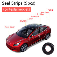 For Tesla Model 3 Exterior Accessories Car Door Skylight Seal Strip Kit Soundproof Noise Insulation Weather Strip Sealing  9Pcs