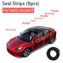 Para tesla modelo 3 acessórios exteriores do carro porta clarabóia kit tira de vedação isolamento ruído à prova de som tira meteorológica vedação 9 pçs