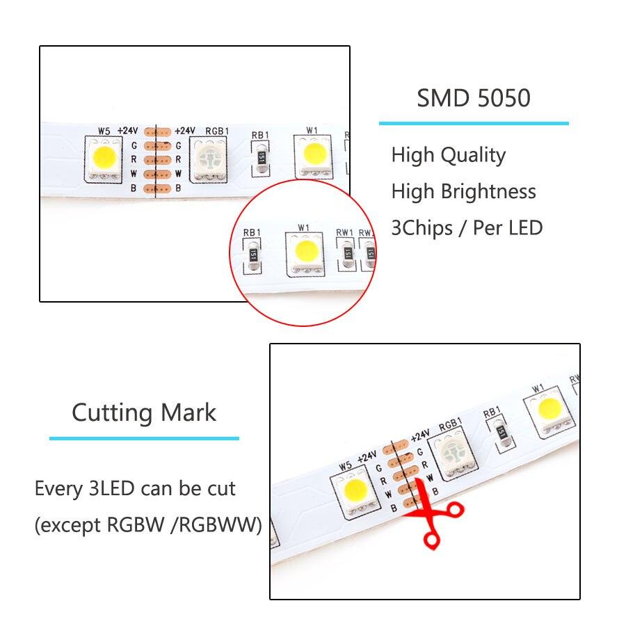 Ha291591f968b4b67aa549815d90f51b9f LED Strip 5050 DC 24V RGB WarmWhite 24 v 5 meter waterproof flexible Light stripe 60LED/MLed Tape Luces lamp Ribbon tv backlight