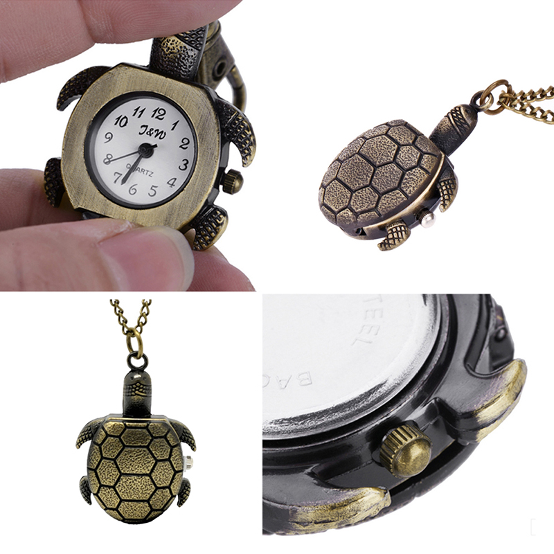Turtle Pocket Watch Women Men Creative Bronze Necklace Chain Quartz Clock For Ladies Women Mens Clock Bronze Tortoise Watch