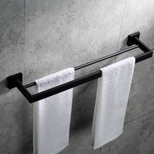 Bathroom Double Towel Bar Wall Mount,SUS 304 Stainless Steel Matte Black