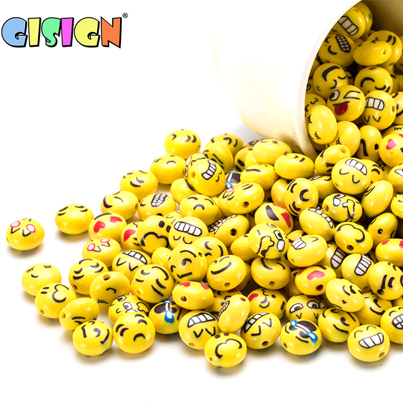 10PCS Emoji Ceramic Beads Addition For Slime Supplies Accessories DIY Decoration Charms For Slime Filler DIY Putty Kids Toys Kit