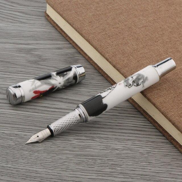 1PC fashion color M Nib ceramics Blue and white Fountain Pen 5
