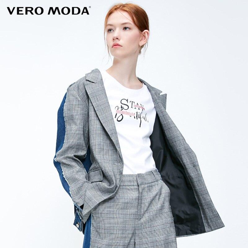 Vero  Moda Women Stitiching Casual Long-sleeved Jacket Coat Suit Blazer| 318455501