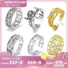 bamoer Wide Silver Rings for Women Authentic 925 Sterling Silver Bee Flower City Heart Finger Ring Female Fine Jewelry Bijoux