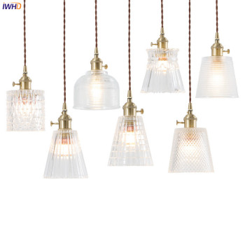 IWHD Nordic Japan Style Glass Pendant Lights Bar Cafe Living Room Light Edison Industrial Vintage Lamp Hanglamp Luminaire LED