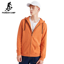 Pioneer Camp Fashion Hoodies for Men Casual Zipper Autumn Homme Youth Black Sweatshirt with Hood AWY908168
