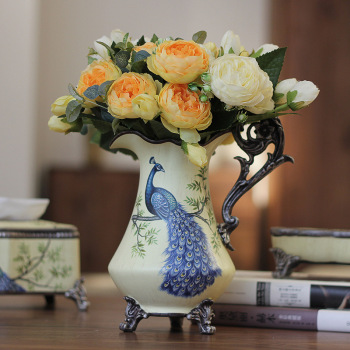 Euro-American household beige-yellow blue feather sparrow ceramic milk pot handicraft vase Jewelry Wedding Gifts