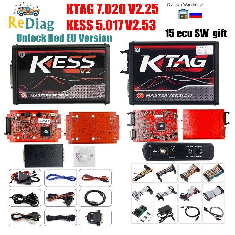 KESS V5.017 V2.53 EU Version Red PCB New 4LED KTAG 7.020 Firmware Latest V2.25 No Token Limited Multi-Language Online Version