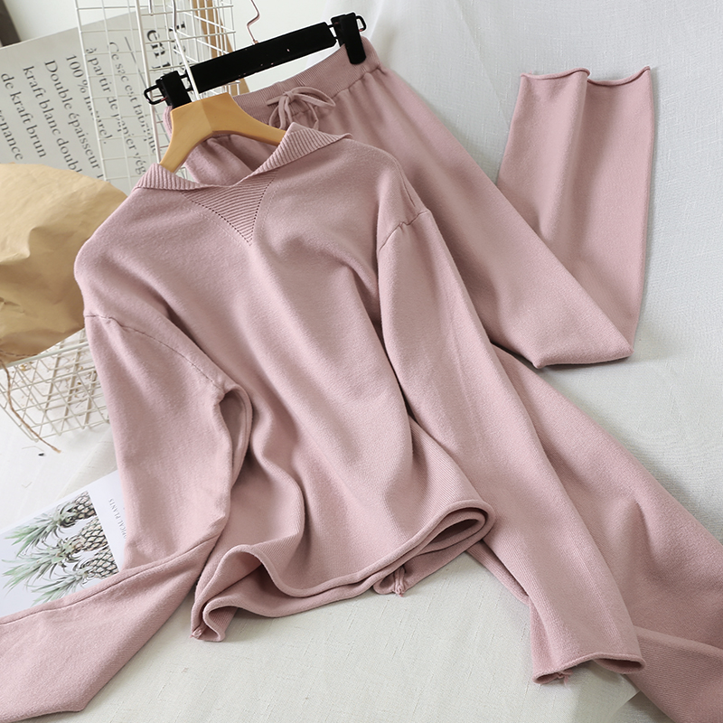 2019 Autumn Winter Pink Two Piece Set Casual Chic Hooded Knitted Sweater Tops And High Waist Wide Leg Pants Women Tracksuit