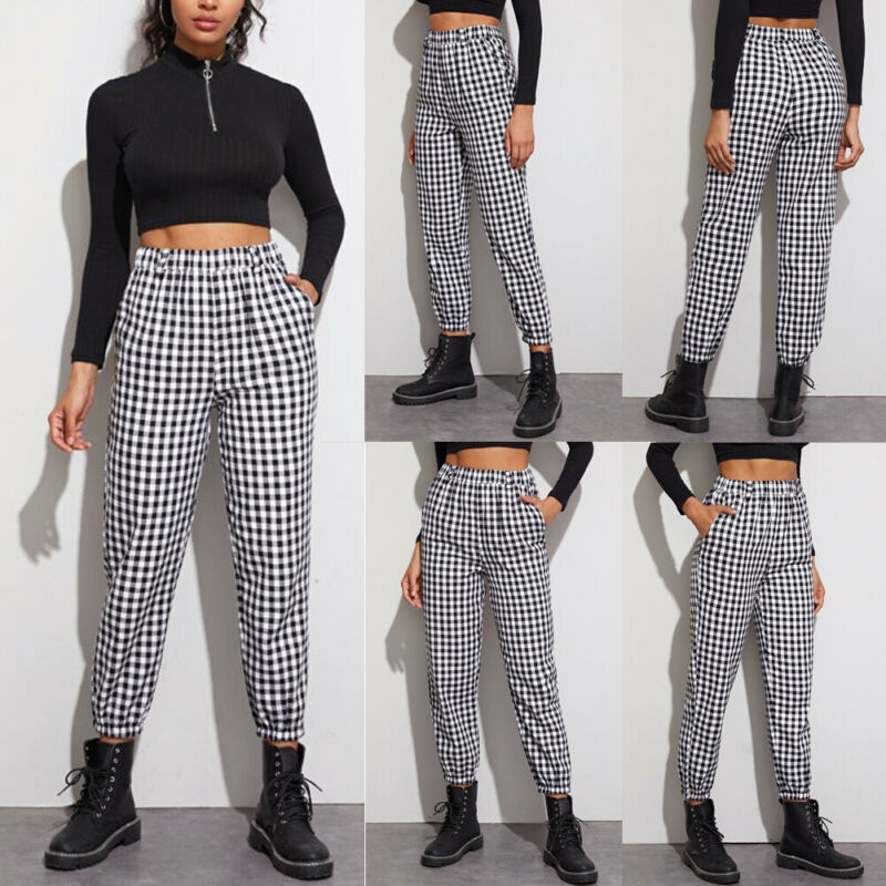 Fashion Women Gingham Plaid Elastic Waist Joggers Sport Office Ladies Elegant Basic Classic Trousers Casual Pants