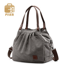 Piler Canvas Women Bag Tote Handbag Ladies Designer Womens Bowling Shoulder Handbags and Purses Hand Female Solid Zipper Bucket