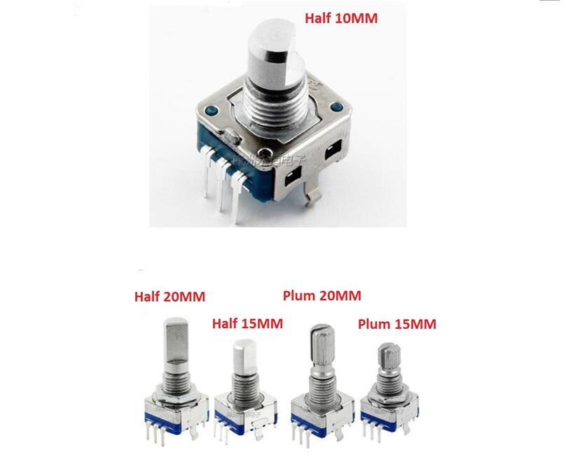 Free Ship 5PCS EC11 Potentiometer Rotary Encoder / Coding Switch / Digital Potentiometer 5 Pin 15MM 20mm Adjustable Plum Handle