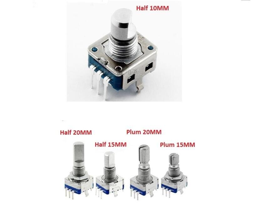 Free Ship 5PCS EC11 Potentiometer Rotary Encoder / Coding Switch / Digital Potentiometer 5 Pin 15MM 20mm Adjustable Plum Handle
