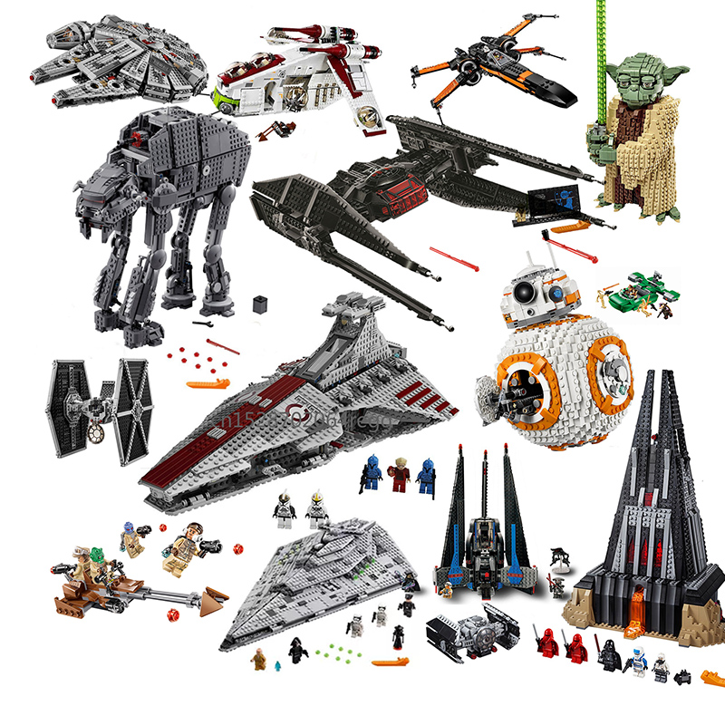 Legoinglys Star Wars Tie Fighter ATTE Walker Darth Vader Castle Figure Building Blocks Brick Toys For Children 75240 75261 75225