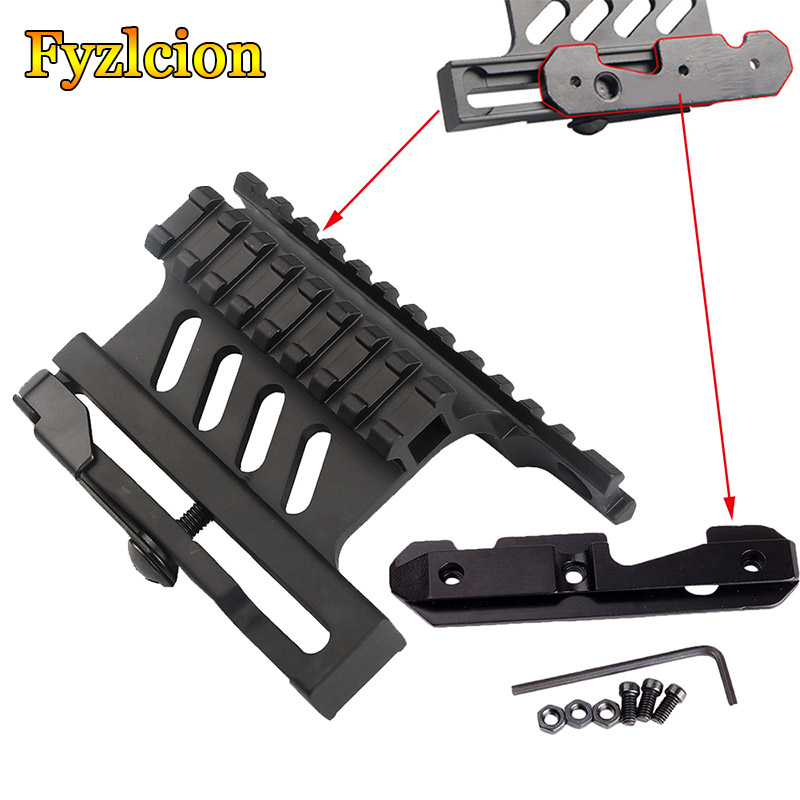 AK 47 / 74 Picatinny Weaver Rails Rail Side Mount Quick QD Style  Detach 20mm Weaver Rail With Side Plate Airsoft Accessories