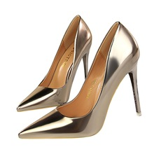 New Women Pumps Shoes Sexy Pointed Toe Fashion Slip-on Metal Thin 10.5cm High Heels Shallow Solid Lady Club Party Female Shoes цена и фото