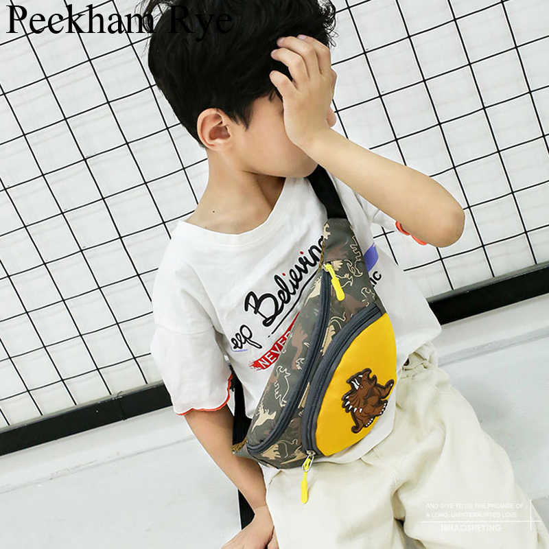 Hoge Kwaliteit Merk Kinderkleding Heuptas Jongens/Meisjes Fanny Pack Kids Crossbody Borst Zakken Cartoon Dinosaurus Purse Oxford taille Verpakking