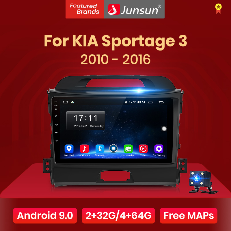 Junsun V1 2G + 32G Android 9.0 Dsp Auto Radio Multimedia Video Player Navigatie Gps 2 Din Voor kia Sportage 3 2010 2011-2016 Geen Dvd