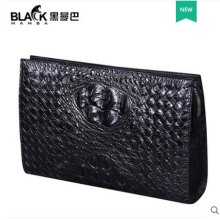 heimanba Crocodile leather wallet bag hand-knitted large capacity business envelope for men leather handbag new men clutch bag