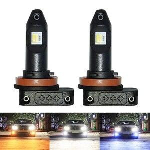 Image 1 - Трехцветный светодиодный противотуманный светильник H11 H8 H9 H16 9006 HB4, белый, желтый, янтарный, Ледяной Синий, светодиодные лампы для передних противотуманных фар 12 В для Toyota