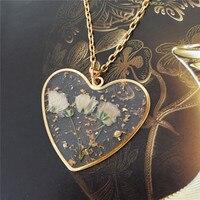 Neue Mode Vergessen Sie Mich Nicht Trockene Blume Halskette Schmuck Herz Form Kleine Anhänger Halskette Silbrig Schmuck Geschenk für Frauen