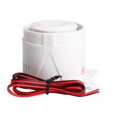 Blanco 120DB DC12V Mini cuerno de sirena con cable inalámbrico sistema de seguridad de alarma para el hogar Accesorios alarma 59cm longitud de línea