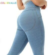 купить Colorvalue Stretchy Imitated Denim Workout Sport Leggings Women Soft High Waist Hip Enhancing Yoga Pants Fitness Gym Tights дешево