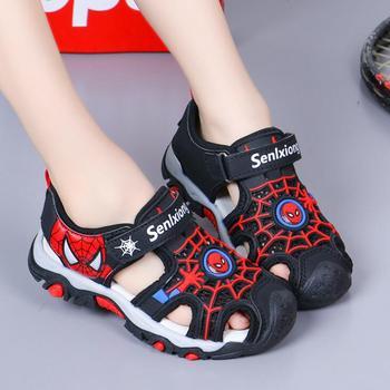 Chłopięce sandały buty letnie dzieci plażowe dziecięce buty kreskówka Spiderman chłopcy sandały sandały niemowlęce miękkie maluch sandały dziecięce tanie i dobre opinie Disney RUBBER 25-36m 3-6y 7-12y CN (pochodzenie) Lato Mężczyzna Miękka skóra Płaskie obcasy Hook loop Dobrze pasuje do rozmiaru wybierz swój normalny rozmiar