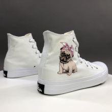 Вэнь оригинальный дизайн холщовая женская обувь для мопса собаки