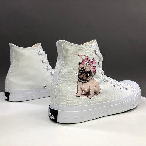 Sapatos de Lona para Mulheres Tênis dos Homens Cão de Estimação Design Original Rosa Bandana Bowknot Alto Topo Atado Branco Preto Skate Wen Pug