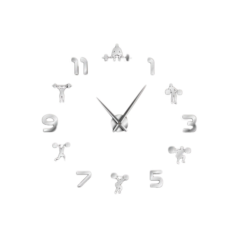 Weightlifting Fitness Room Wall Decor Diy Giant Wall Clock Mirror Effect Powerlifting Frameless Large Wall Clock Wall Watch Silv
