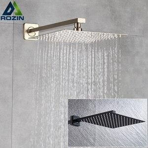 """Image 1 - Rozin Gebürstet Goldene Regen Dusche Kopf Badezimmer 8/10/12 """"Ultradünne Stil Top Dusche Kopf mit Wand Montiert Dusche arm"""
