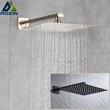 """Rozin fırçalanmış altın yağış duş başlığı banyo 8/10/12 """"ultra ince stil tepeden duş başlığı ile duvara monte duş kolu"""