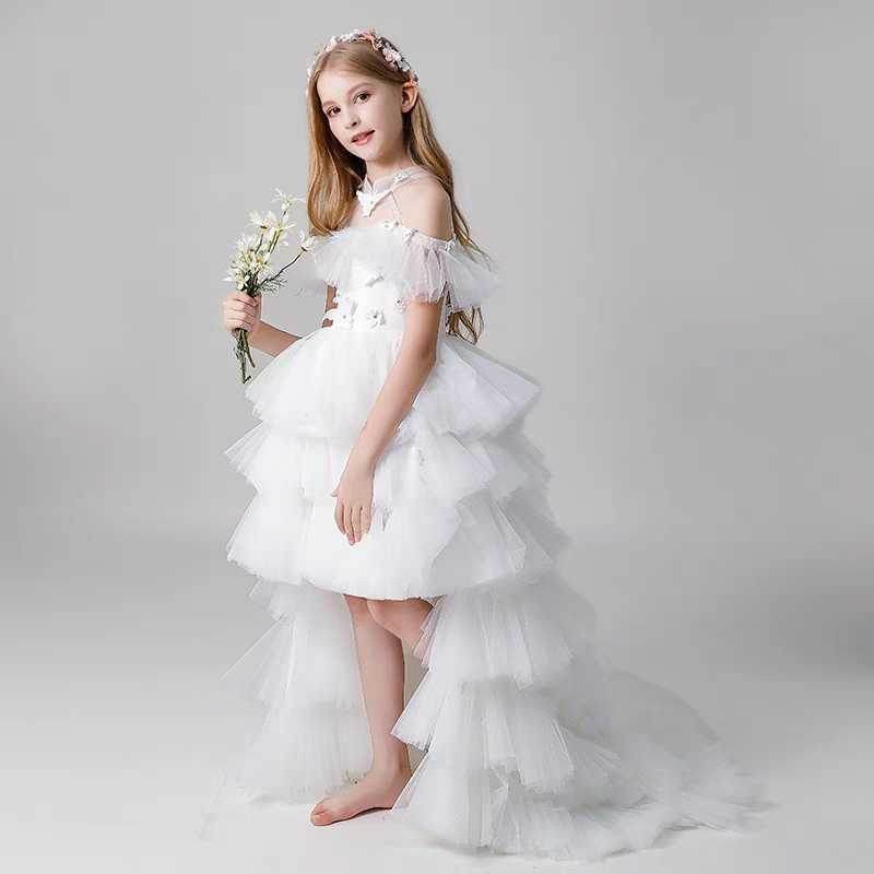 Mingli Tengda White   Flower     Girl     Dresses   Halter Neck Butterfly Beading Childern high low   Dress   For Wedding Party primera comunion