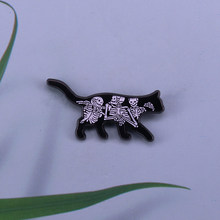 Black cat with skeleton pin creepy cartoon brooch Halloween gift(China)