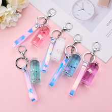 Cute Macarons Floating Pig Sequins Acrylic Key Chain Moving Liquid Oil Drop Decompression Drift Bottle for Bag Gift Car Auto