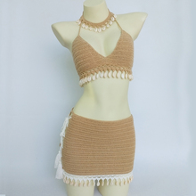 Crochet Bikini Fringed 3piece Beach-Dress Sexy Woman Fashion Shell Top Necklace And