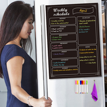 Blackboard-Calendar Fridge Planner-To-Do-List Magnetic Menu 8-Markers Weekly-Schedule